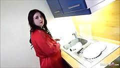 Curvy 18yo Stepsister Seduced to Fuck in the kitchen – German
