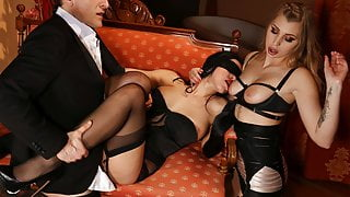 Two glamour lingerie models share big cock