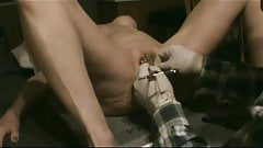 slave's pussy is shut with first rings...
