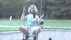 2 strippers public flashing #3 swing in park exposing flash