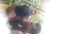 Desi indian lover openly boob press outdoors and