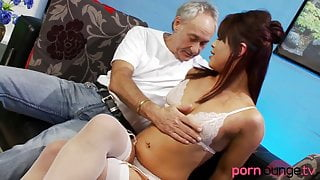 Asian babe riding and sucking dick
