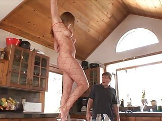 Hot naked chick in river - Naked chick in fishnet body stocking has her toes sucked