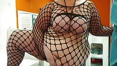 Curvy Charlotte BBW messing around in body stockings 4