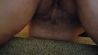 Hairy wife fucked squirts on stairs