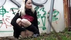 Blonde Cutie Pees In The Street