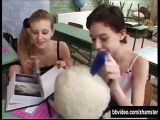 Group sex classroom video - German schoolgirl gets facialized in classroom