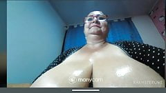 Granny big boobs big nipples suck dildo
