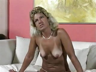 Cumming on a dick Tanned blond milf slut squeezing cum from a dick