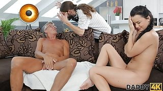 DADDY4K. Old step dad lured into unplanned sex with step son's excited girlfriend