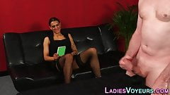 Cfnm babe judges naked dudes cock tugging