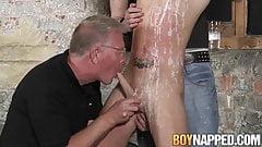 Hardcore threesome BDSM torment ending in hot cum feeding