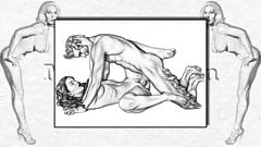 Erotic Drawings of  Marc Blanton - Nymphs and Satyr