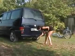 Strip wound exhaust pipe Girl fucks car exhaust