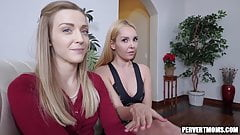 Hot Stepmom And Aunt Caught Making Out Suck and Fuck Cock