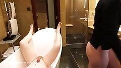 Blonde ballbusting bathroom heels