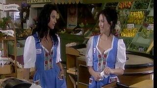 Lesbian bar maids masturbate in threesome