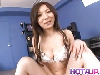 Asian uncircumsised penis Ayami rubs penis with her big jugs and rides it