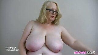 Sally having fun in her spotty bikini