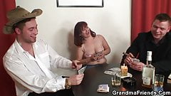 Hot grandma in stockings double penetration
