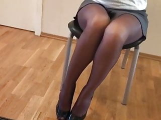 Sexy women office skirts - Hot russian 19 y.o. office slut posing in nylons and skirt