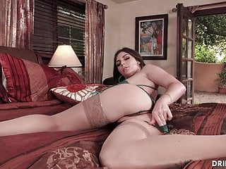 Prepping for large cock anal penetration - Brunette loves deepthroating a large cock before anal sex