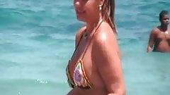 sexy mature thong bikini with NOT her daughter on beach 2014