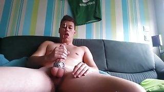 German Boy Wank his Big Dick and Shoot a Big Load