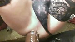 sissy anal slut using gaping ass with monster dildos
