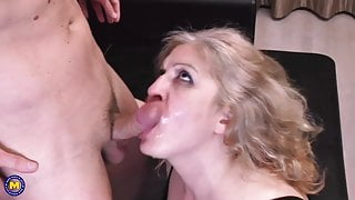 Mature mother pleases her boy