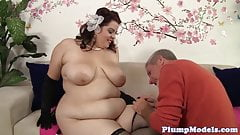 Alluring plumper banged in sexy lingerie