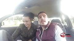 Ignacio Santos and Laura in the Car