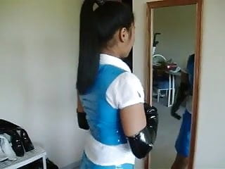 Top blue teens Asian in blue pvc skirt and top