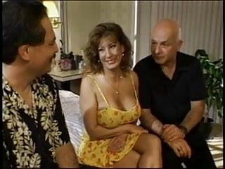 Blowjob 3 cocks at once Horny married brunette sucks on three hard cocks at once then gets drilled