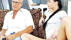 DADDY4K. Old and young lovers have spontaneous sex behind...