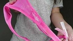 Girl to show pussy creamy purple panties.