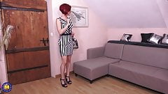 Naughty mom Flora Milano takes two cocks
