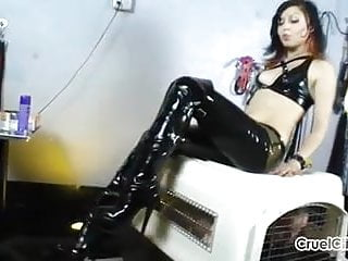 Canine dildos - Canine slave worships isobels shiny leather boots
