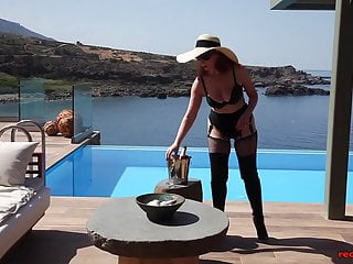 Xxx watched fuck - Mature red xxx fucks a champagne bottle outside