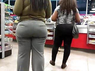 Slack bottom Phat ass in grey slacks qt booty
