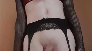 Sissy goth crossdresser plays with her cock and cums