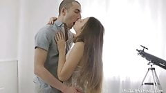 Elen finally lets this horny guy fuck her shaved teen pussy