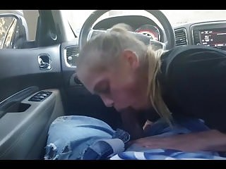 Blonde slut sucking Homemade amateur blond slut sucking bbc in car