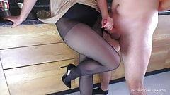 Hot Stepsister in nylon pantyhose gives handjob - Cum on legs