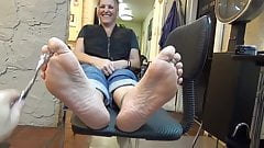 Mature 58 yo shows soles