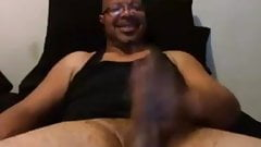 Older mature dad wanks his big black cock and creams hard