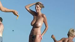 Blonde with nice tits on beach