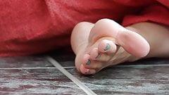 Feet 065 - Soft Soles And Turquoise Toe Nail Polish
