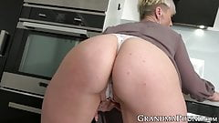 Solo short haired grandma uses sex toys on her old pussy