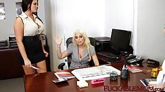 Young dyke and matures having taboo trio in the office